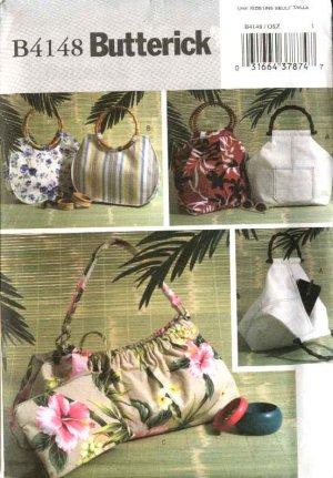 Butterick Sewing Pattern 4148 B4148 Three Lined Fashion Handbags Purses Cosmetic Bag Pocketbooks