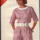 Butterick Sewing Pattern 4180 Misses Size 16-22 Easy Pullover Short Sleeve Top Pull On Shorts