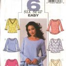Butterick Sewing Pattern 4232 B4232 Misses Size 6-10 Easy Pullover Tops Sleeve Neck Variations