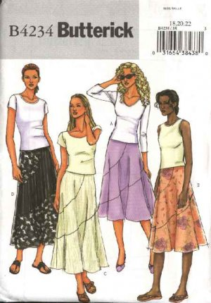 Butterick Sewing Pattern 4234 Misses Size 6-8-10 Easy Flared Short Long Seaming Details Skirts