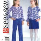 Butterick Sewing Pattern 4261 Girls Size 7-8-10 Easy Pullover Long Sleeve Top A-Line Skirt Pants