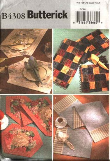 Butterick Sewing Pattern 4308 Home Decoration Table Runners Placemats Napkins