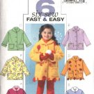 Butterick Sewing Pattern 4336 Girls Size 2-3-4-5 Easy Button Front Fleece Jackets Embellished