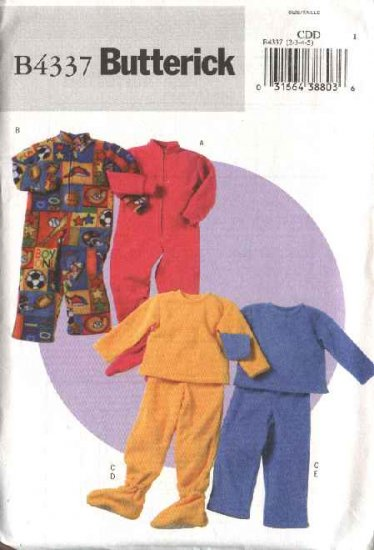 Butterick Sewing Pattern B4337 4337 Boys Girls Size 2-5 Easy Loungewear Footed Sleepers Pajamas