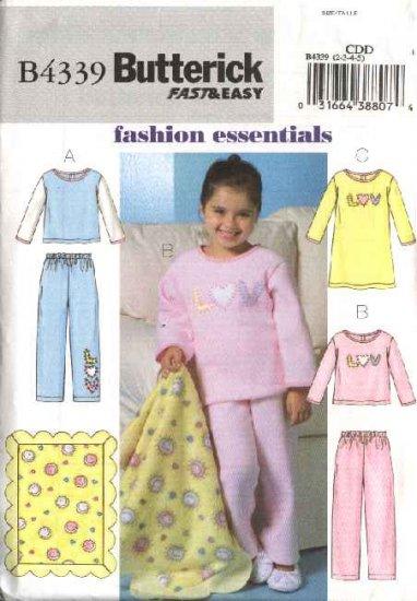 Butterick Sewing Pattern B4339 4339 Girls Size 6-8 Easy Pajamas Top Pants Gown Fleece Blanket