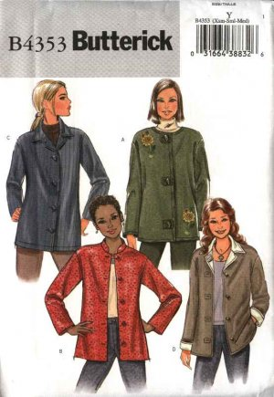 Butterick Sewing Pattern 4353 Misses Size 16-22 Easy Button Front Unlined Long Sleeve Jacket