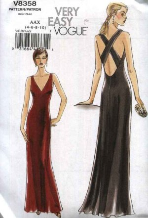 Vogue Sewing Pattern 8358 Misses Sizes 4-6-8-10 Easy Evening Gown ...