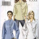 Vogue Sewing Pattern 8515 Misses Sizes 18-24 Easy Asymmetrical Button Front Shirts Sleeve Variations