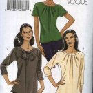 Vogue Sewing Pattern 8534 Misses Sizes 6-8-10-12 Easy Pullover Knit Tops Sleeve Neckline Variations