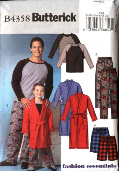 "Butterick Sewing Pattern 4358 Mens Size 34-44"" Wrap Front Robe Pullover Top Shorts Pants Pajamas"