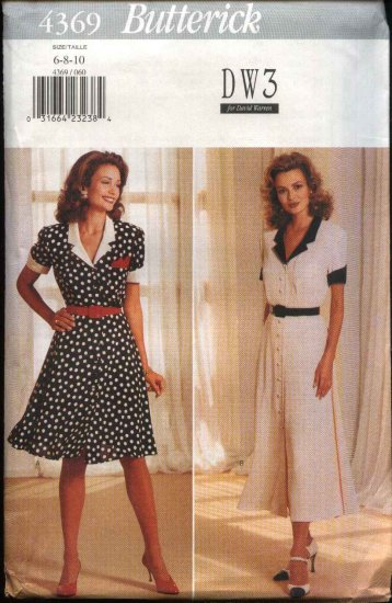 Butterick Sewing Pattern 4369 Misses Sizes 18-22 Easy Button Front Short Sleeve Flared Skirt Dress