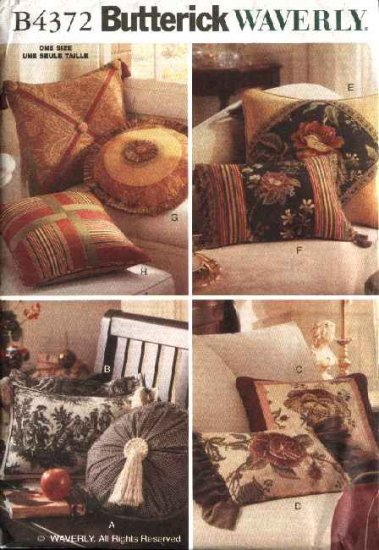 Butterick Sewing Pattern 4372 Waverly Easy-to-Make Pillows Cushions Covers