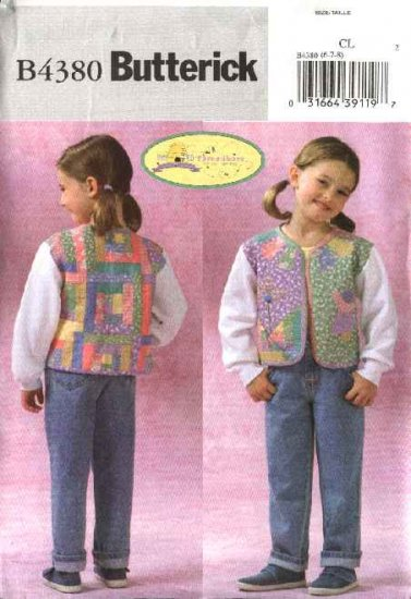 Butterick Sewing Pattern 4380 Girls Size 2-3-4-5 Easy Patchwork Quilted Sweatshirt Jacket