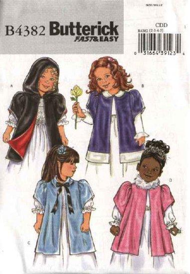 Butterick Sewing Pattern 4382 B4382 Girls Size 6-8 Easy Hooded Short Sleeve Cloak Jacket