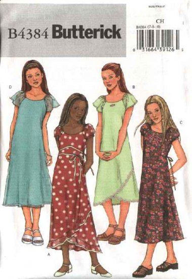 Butterick Sewing Pattern 4384 Girls Size 12-14-16 Easy  Pullover A-Line Layered Dresses