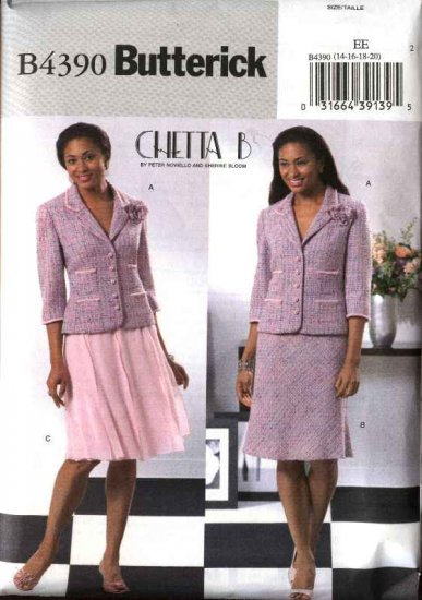 Butterick Sewing Pattern 4390 B4390 Misses Size 14-20 Lined Button Front Jacket Flared Full Skirt