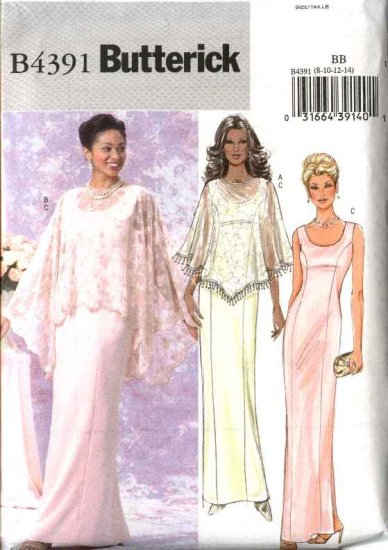 Butterick Sewing Pattern B4391 4391 Misses Size 8-14 Easy Formal Evening Gown Long Dress Cape