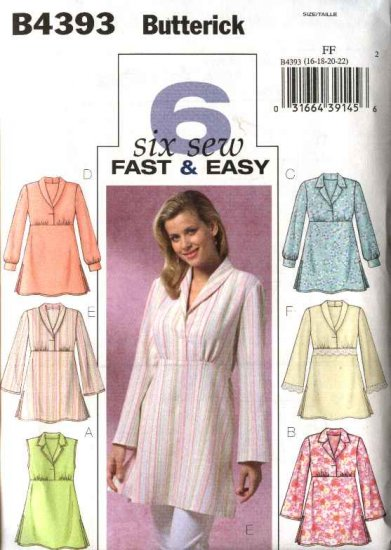 Butterick Sewing Pattern 4393 Misses Size 8-10-12-14 Easy Pullover Empire Waist Tunic Top