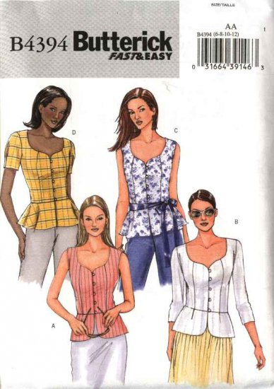 Butterick Sewing Pattern 4394 Misses Size 14-20 Easy Button Front Peplum Blouse Top Sleeve Variation