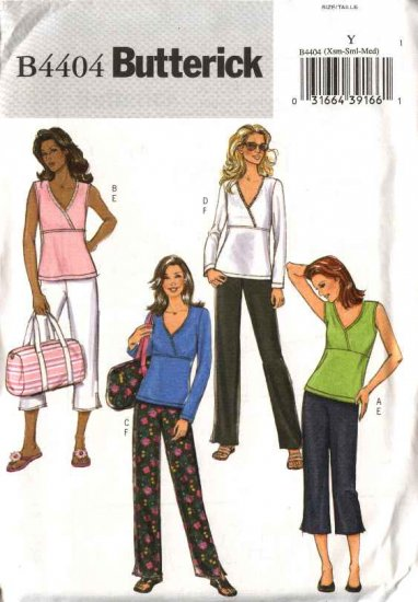 Butterick Sewing Pattern B4404 4404 Misses Size 4-14 Easy Pullover Knit Top Cropped Pants Totebag
