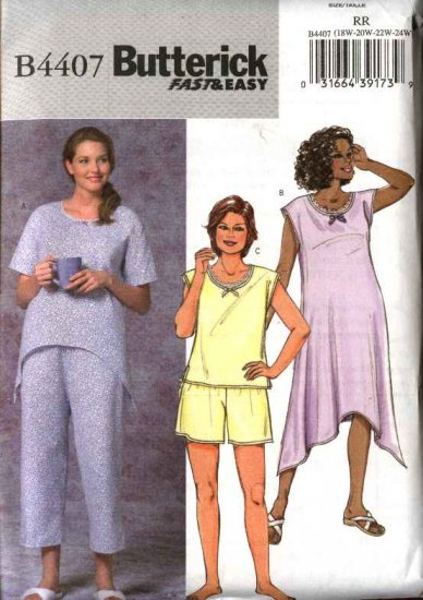 Butterick Sewing Pattern 4407 Womans Plus Size 26W-32W Easy Nightgown Pajamas Top Shorts Pants