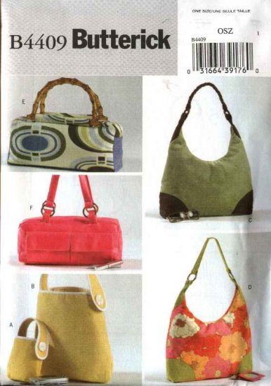 Butterick Sewing Pattern 4409 Six Lined Purses Totes Handbags Pocketbooks Bags