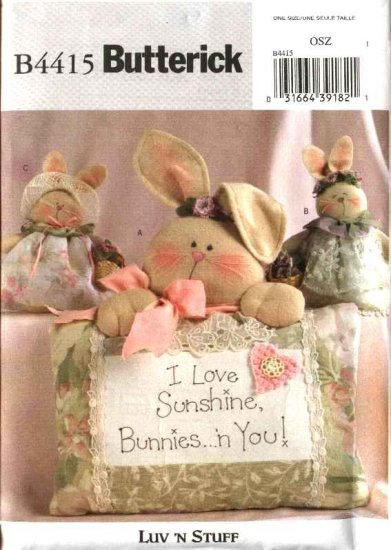Butterick Sewing Pattern 4415 Sunshine Bunny Bunnie Pillows Decorations
