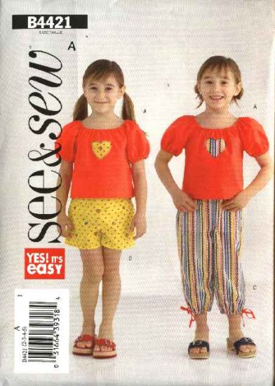 Butterick Sewing Pattern 4421 Girls Size 6-7-8 Easy Pullover Top Shorts Cropped Pants