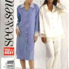 Butterick Sewing Pattern 4430 Misses Size 6-14 Easy Nightshirt Nightgown Pajamas Top Pants