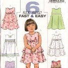 Butterick Sewing Pattern 4434 Toddler Girls Size 1-2-3 Easy Pullover Raised Waist Sleeveless Dress