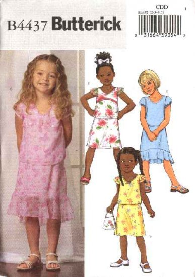 Butterick Sewing Pattern 4437 B4437 Girls Size 2-5 Easy Pullover Short Sleeve Tops A-Line Skirts
