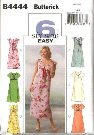Butterick Sewing Pattern 4444 Misses Size 14-16-18-20 Easy Empire Raised Waist Summer Dress