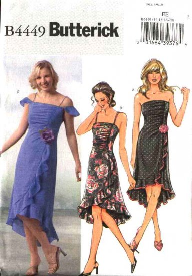 Butterick Sewing Pattern 4449 Misses Size 6-12 Fitted Strapless Ruched Ruffled Hem Dress