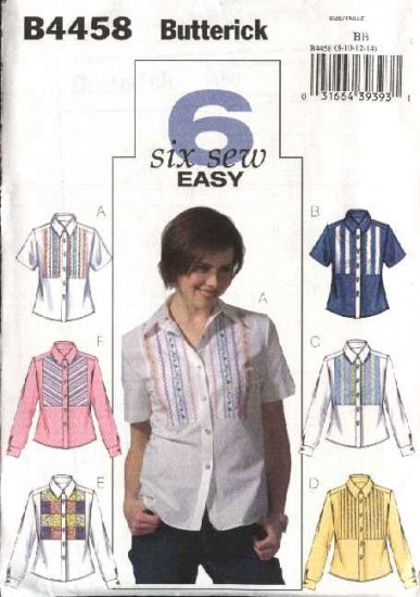 Butterick Sewing Pattern 4458 Misses Size 16-22 Easy Button Front Embellished Shirt