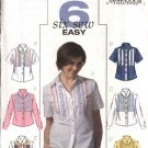 Butterick Sewing Pattern 4458 Misses Size 8-14 Easy Button Front Embellished Shirt