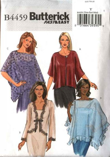 Butterick Sewing Pattern 4459 Misses Size 4-14 Easy Evening Formal Shrug Bolero Poncho