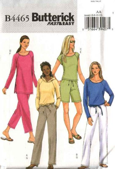 Butterick Sewing Pattern 4465 Misses Size 14-16-18-20 Easy Wardrobe Pullover Top Shorts Pants Hoodie