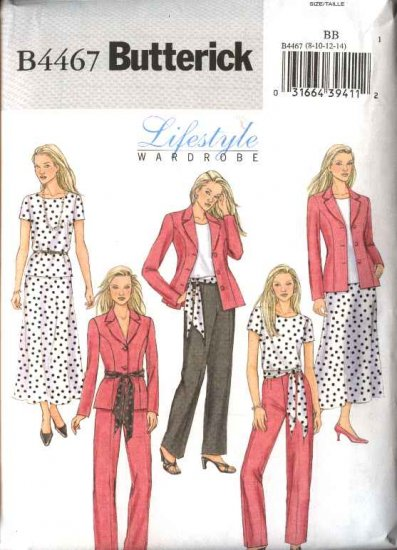 Butterick Sewing Pattern 4467 Misses Size 16-18-20-22 Easy Wardrobe Jacket Skirt Pants Top Sash