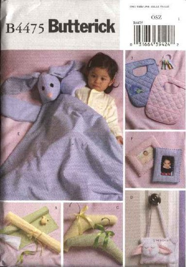 Butterick Sewing Pattern 4475 Baby Changing Pad Blanket Buddy Bibs Hangers Wall Hanging Frame