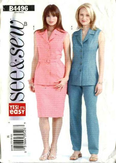 Butterick Sewing Pattern 4496 Misses Size 12-14-16 Easy Sleeveless Button Front Jacket Skirt Pants