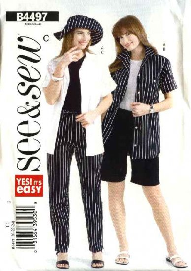 Butterick Sewing Pattern 4497 Misses Size 8-10-12 Easy Shirt Shorts Pants Hat