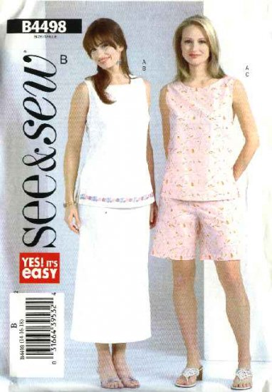 Butterick Sewing Pattern 4498 Misses Size 20-22-24 Easy Button Back Sleeveless Top Skirt Shorts