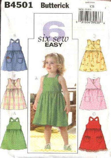 Butterick Sewing Pattern 4501 Girls Size 4-5-6 Easy Classic Summer Dresses Sundress