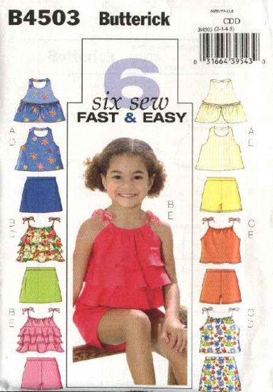Butterick Sewing Pattern 4503 Girls Size 2-3-4-5 Easy Halter Summer Top Skort Shorts