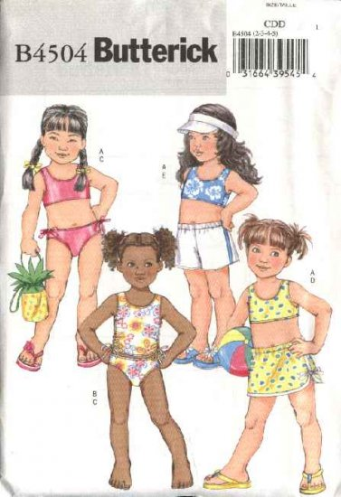 Butterick Sewing Pattern 4504 Girls Size 6-8 Easy Two Piece Bathing Swimming Suit Shorts Bag