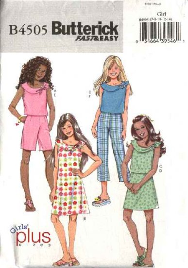 Butterick Sewing Pattern 4505 Girls Sizes 7-14 Easy Wardrobe Top Dress Skirt Pants Shorts