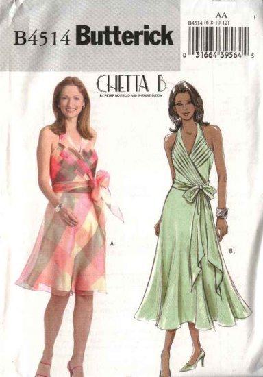 Butterick Sewing Pattern 4514 Misses Size 6-8-10-12 Halter Neck Mock Wrap Front Lined Dress