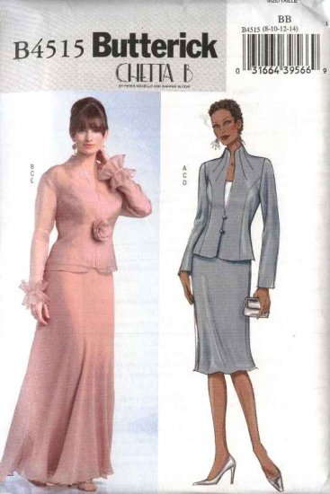 Butterick Sewing Pattern 4515 Misses Size 8-14 Formal Evening Jacket Camisole Top Long Short Skirt