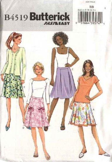 Butterick Sewing Pattern 4519 Misses Size 16-18-20-22 Easy Pleated Embellished Skirts