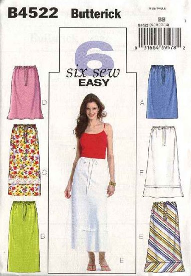 Butterick Sewing Pattern 4522 Misses Size 8-10-12-14 Easy Straight A-Line Long Short Skirts